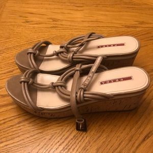 Prada Strappy Wedges Brown Leather Size 38